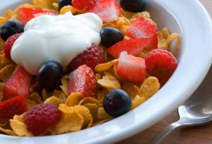 cereal, fruit and yoghurt